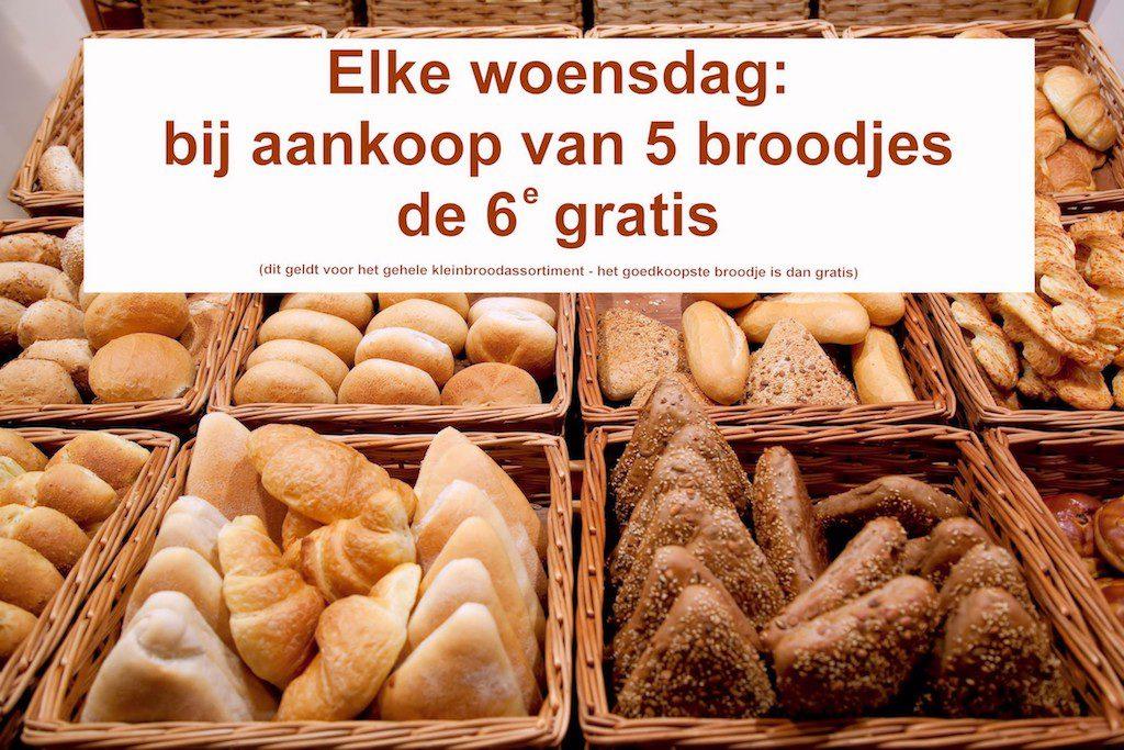 elke woensdag broodjesdag 6e broodje gratis